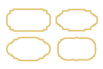 Gold frames. Beautiful simple golden design. Vintage style decorative border, isolated on white background. Deco elegant object. Empty copy space for decoration, photo, banner Vector illustration