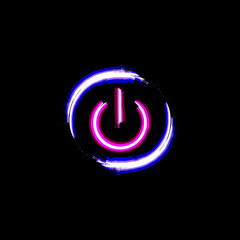 ON and OFF neon circle button, isolated on black background. Light power sign. Shut down icon. Grunge design. Symbol of technology, computer, energy and web. Vector illustration