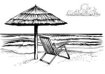 Ocean or sea beach with umbrella and chaise longue.