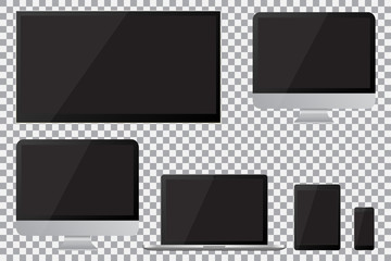 Set of realistic TV, lcd, led, computer monitor, laptop, tablet and mobile phone with empty black screen. Various modern electronic gadget on isolate background