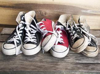 Sneakers on the wooden floor