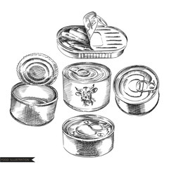 Set of hand drawn cans of food isolated on white background. Canned food sketch elements. Retro hand-drawn vector illustration. Great for poster, banner, voucher, coupon.