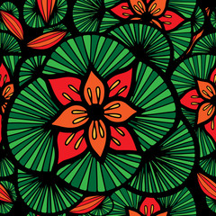Seamless pattern with abstract red flower