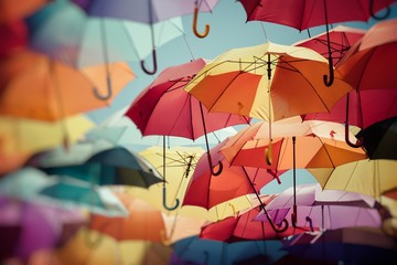 Background colorful umbrella street decoration. Selective focus.