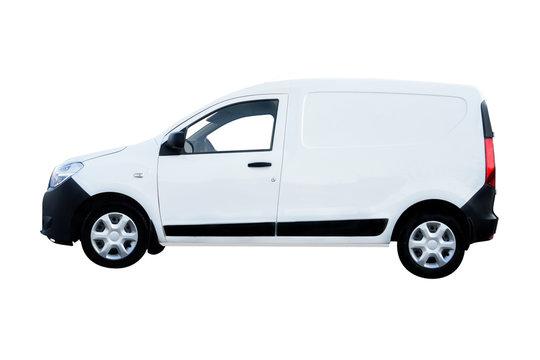 White Van Side View under a white background