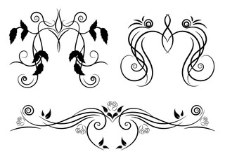 Set of black and white floral ornament for design. Tattoo floral ornament.