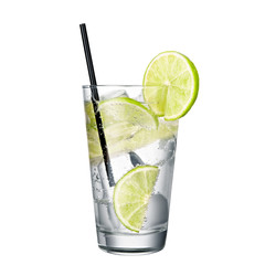 gin and tonic with lime isolated on white background