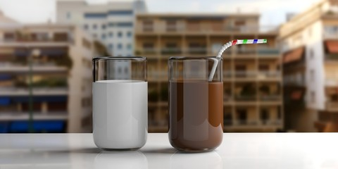 Glasses of milk and choco milk. 3d illustration