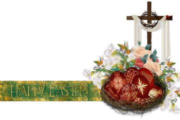Happy Easter - Easter resurrection background with a cross, crown of thorns and flowers