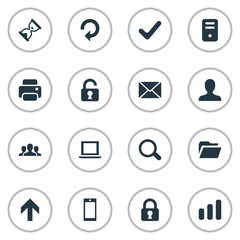 Set Of 16 Simple Apps Icons. Can Be Found Such Elements As Message, Magnifier, Check And Other.