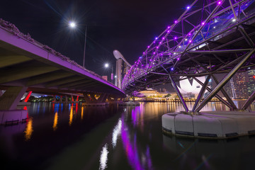 Singpore-Dec 17: Helix bridge and the marina bay waterfront on December 17,2016.