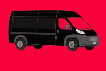 black van on a red background. Isolated Minibus