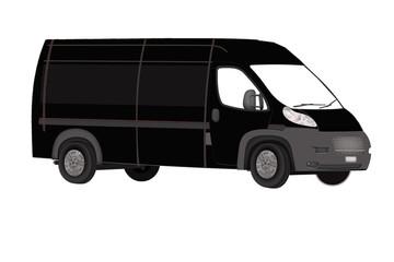 black minibus on a white background. Isolated Minibus