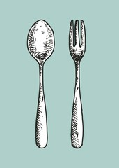 small spoon and fork vector illustration