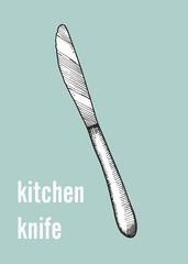 dining kitchen knife vector illustration