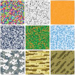 Pixel background, camouflage, Duotone. Retro background.