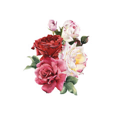 Bouquet of roses, watercolor, can be used as greeting card, invi