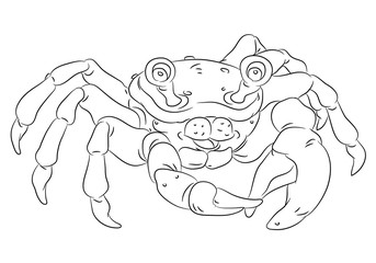 happy smiling cartoon crab