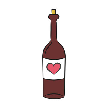 Cartoon wine bottle on the white background for your design.