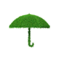 Green symbol of umbrella made of grass, ecology concept, 3d render.