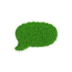 Green symbol of speech bubble made of grass, ecology concept, 3d render.