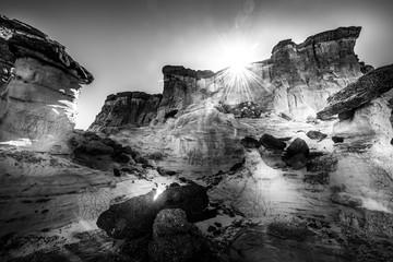 Black and white Wahweap Hoodoos near Kanab