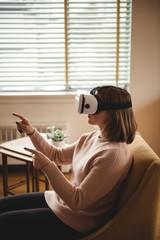Woman using vr-headset glasses