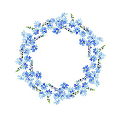 Forget-me-not watercolor flowers united in a circular frame. Hand painted watercolor
