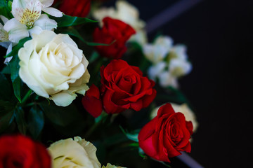 Red and White roses as a background