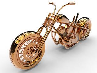 3D concept - reflective orange motorcycle