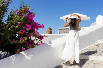Attractive woman in Santorini