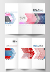 Tri-fold brochure business templates on both sides. Easy editable abstract layout in flat design. Christmas decoration, vector background with shiny snowflakes.