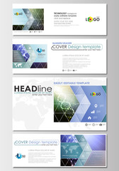 Social media and email headers set, modern banners. Business templates. Cover design template, abstract flat layout. DNA molecule structure, science background. Scientific research, medical technology