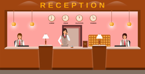 Hotel reception service. Hotel employees welcome guests on their workplace. Business office receptionists.