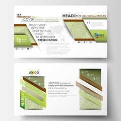 Business templates in HD format, presentation slides. Abstract layouts in flat design. Green color background with leaves. Spa concept in linear style. Vector decoration for cosmetics, beauty industry