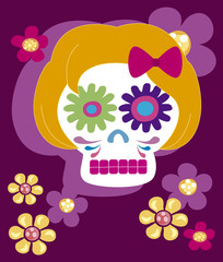girl skulll with flowers