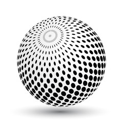 Halftone effect sphere in black and white. Vector 3D object with dropped shadow.