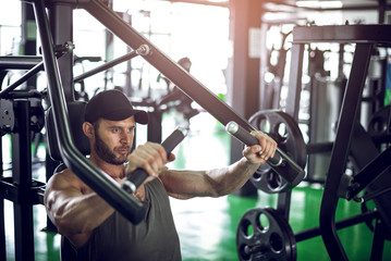 Chest press in modern gym