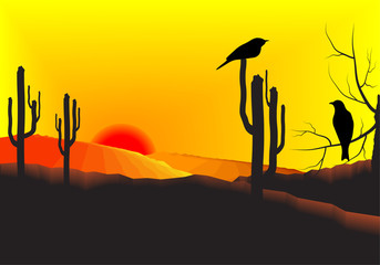 Sunset in the desert with cactus plants and birds at a branch of a tree. Vector illustration background.