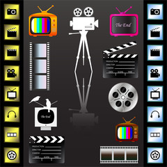 Movie icons set on the black background, vector illustration.