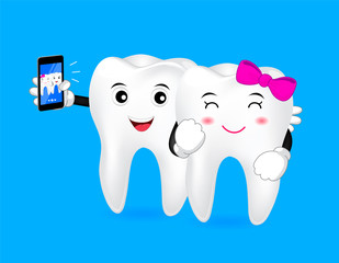 Happy cartoon tooth take photo by phone. Illustration,  great for dental care concept.