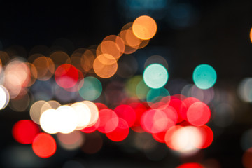 Colorful lights from cars in defocus, night, outdoor