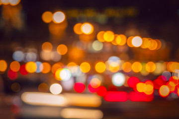 Colorful lights from cars in defocus, night, outdoor Fotomurales