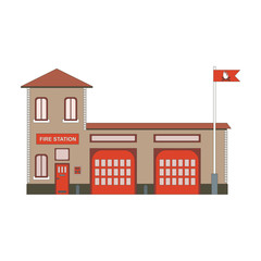 Fire station building icon. Vector flat illustration