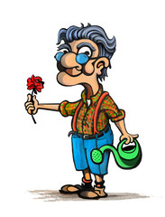 Cartoon Illustration of Old man with flower in garden with watering can