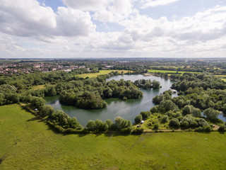 Drone Pictures over a Lake in Leicester England