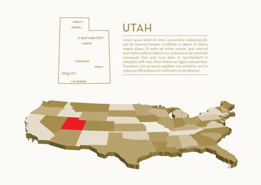 3D USA State map - UTAH