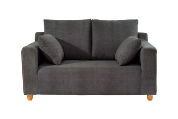Black fabric modern sofa isolated with clipping path.