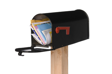 Isolated open mail box with mail