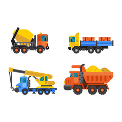 Tipper truck and construction crane industry vector illustration.